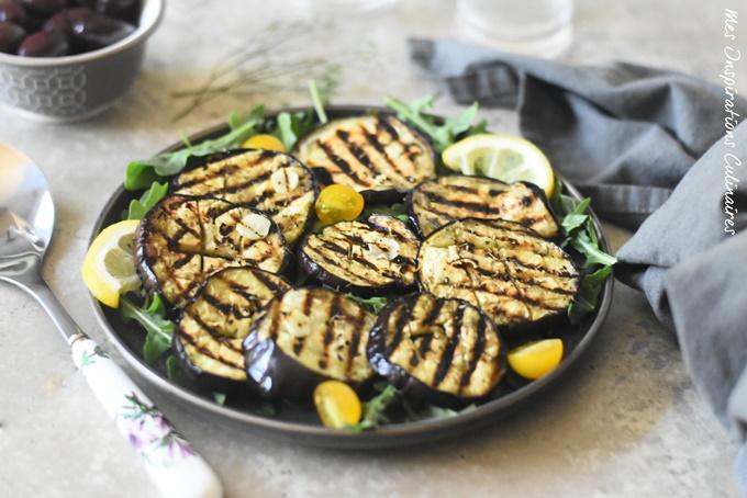 aubergines grillées {marinées} à l'huile d'olive, ail et au thym
