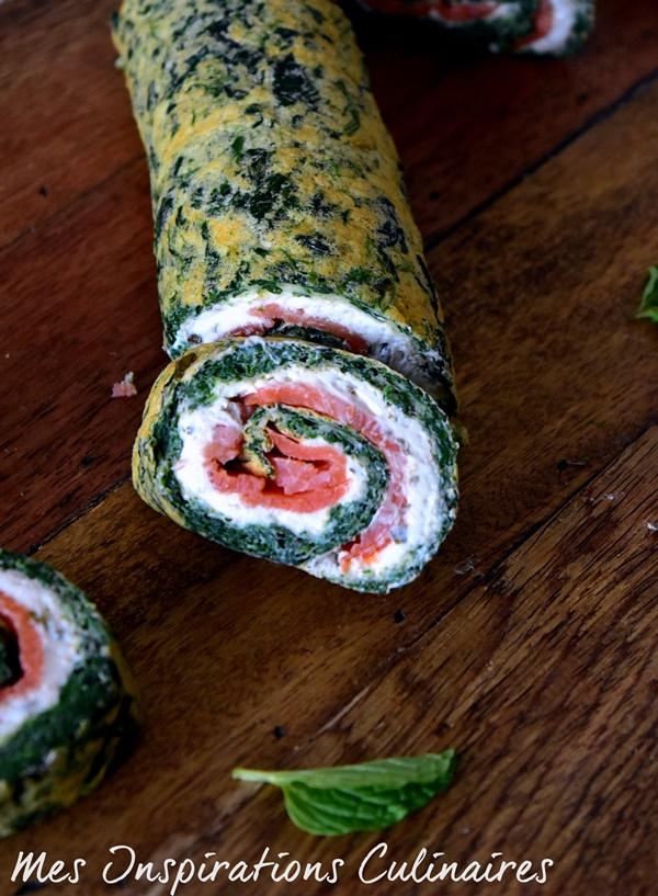 Roulé aux épinards, saumon et boursin