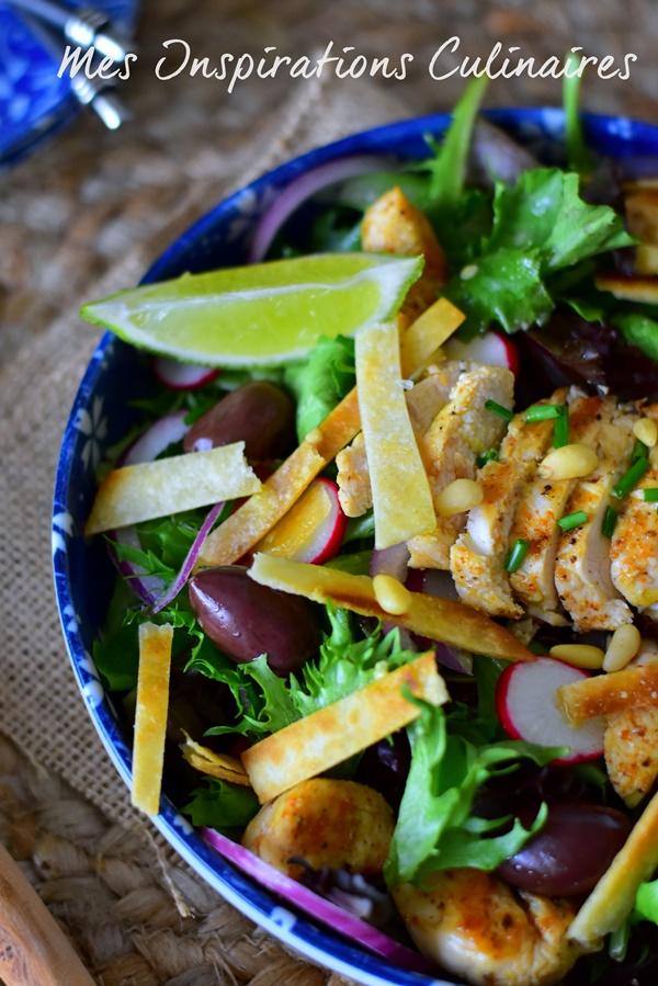 Sauté de poulet en salade, vinaigrette sauce soja