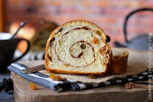 recette de pain aux raisins secs et cannelle Swirl bread