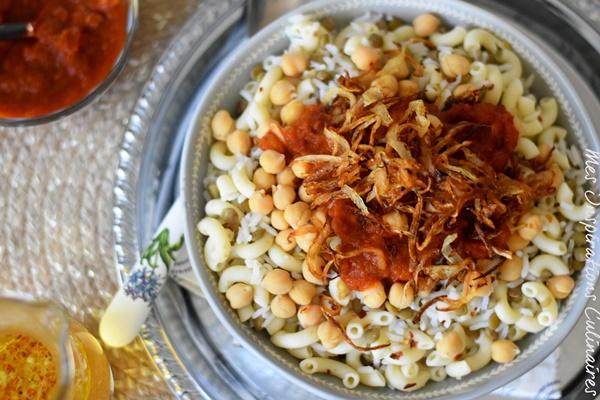 Recette Koshari égyptien Riz aux lentilles et macaroni