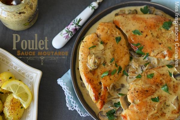 Escalope de poulet sauce moutarde et champignons