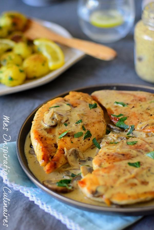 recette Escalopes de poulet sauce a la moutarde et aux champignons
