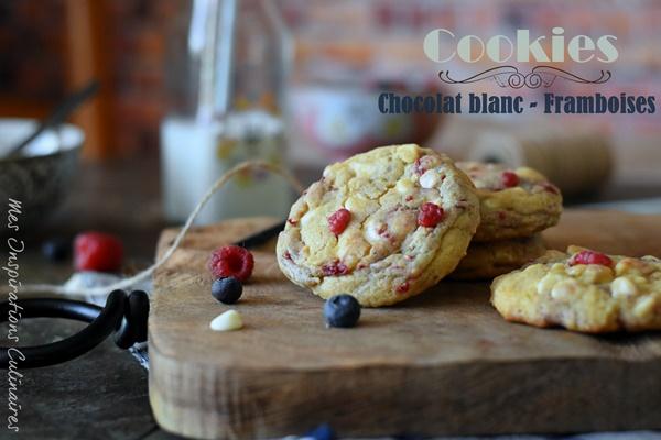Recette Cookies americains au chocolat blanc et framboises