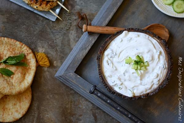 Salade de concombre au yaourt, sauce libanaise