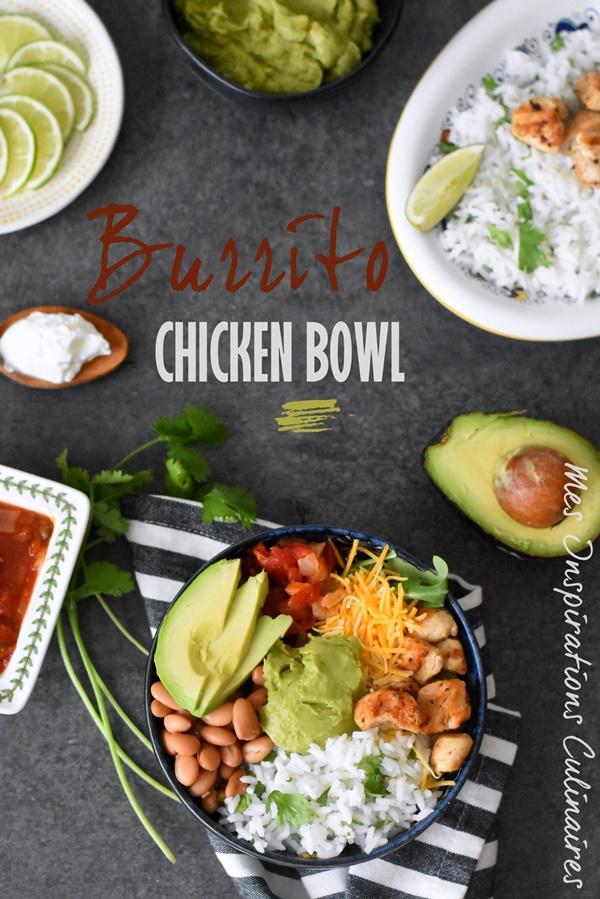 Burrito bowl au poulet, haricots rouges et avocat