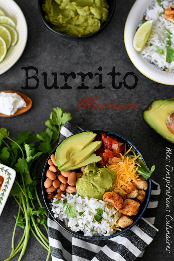 Burritos au poulet, haricots rouges et avocat