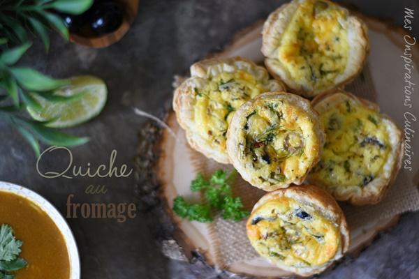 Quiche au fromage, olives et ciboulette