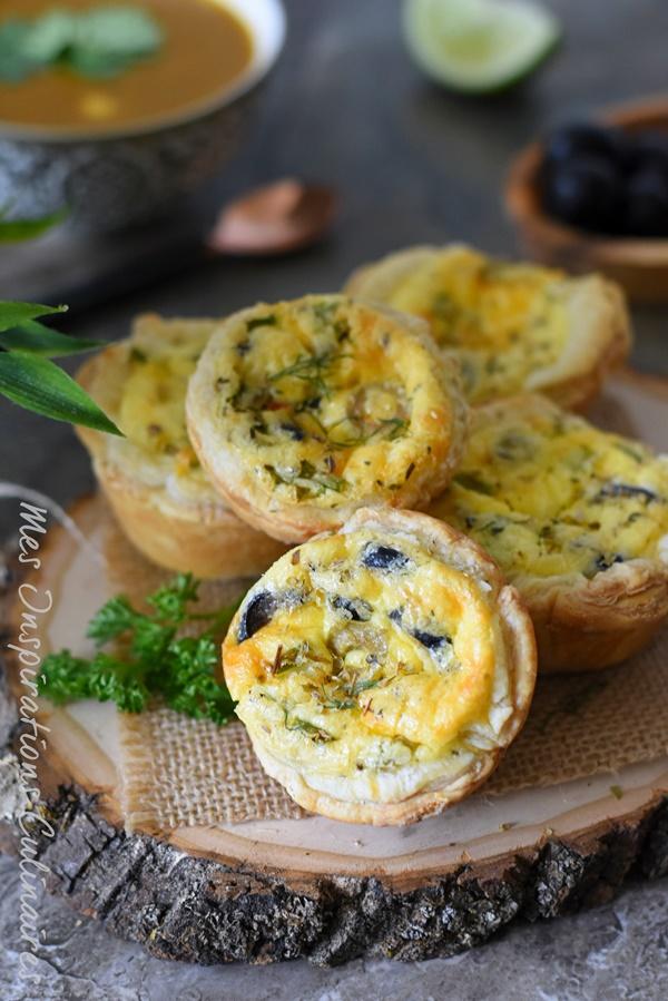 Recette Quiche au fromage aux olives et a la ciboulette