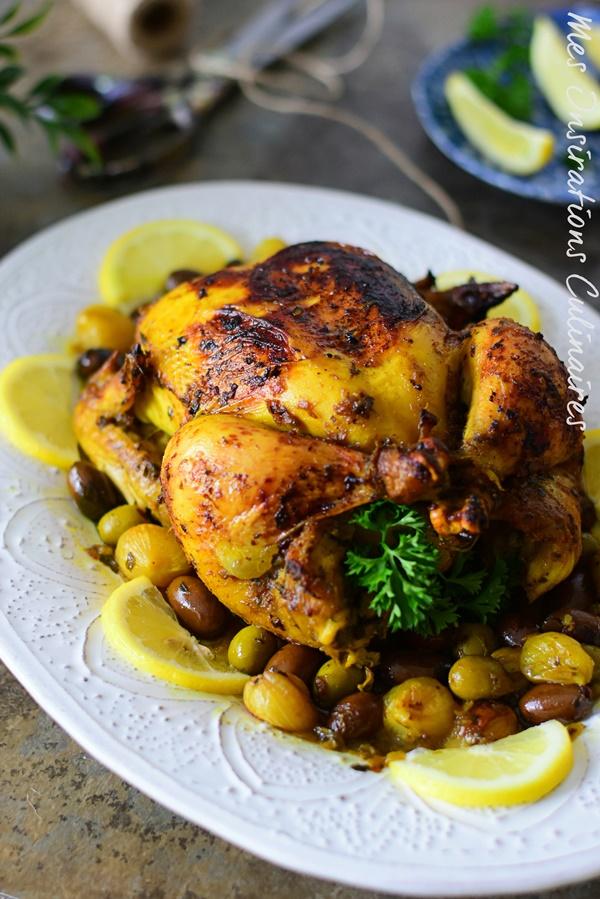 Poulet aux olives et citron confit à la marocaine