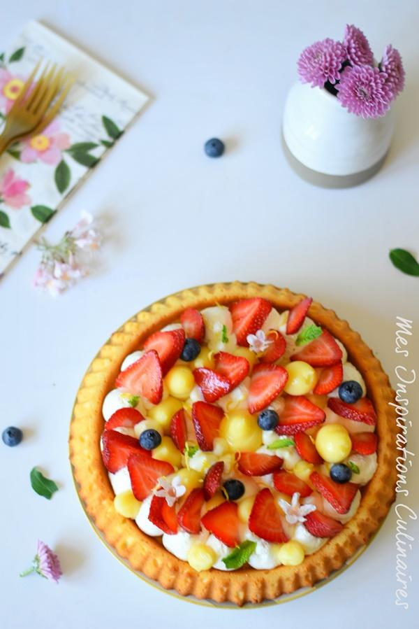 Recette Tarte renversée aux fraises crème au citron