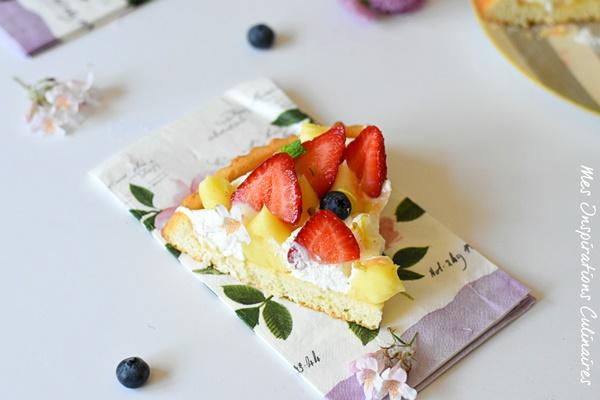Delicieuse tarte renversée crème au citron et basilic
