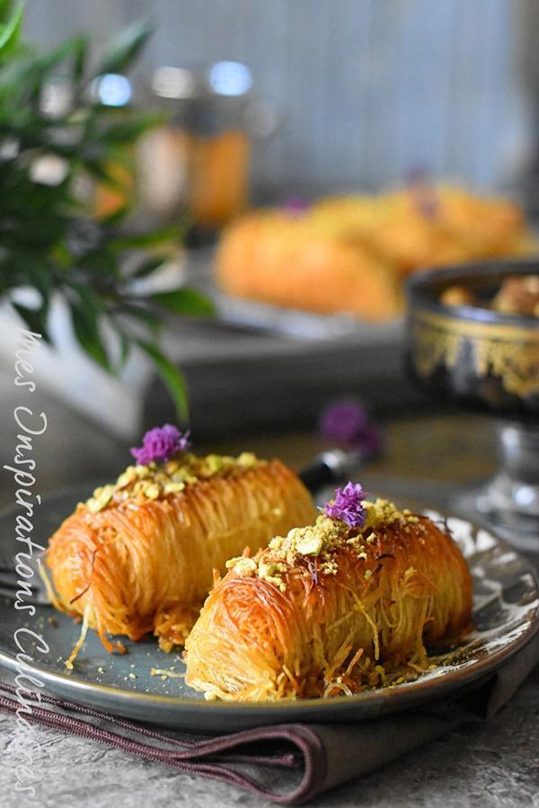 Konafa, kadaif, ktayef a la creme au fromage ricotta (ktayef libanaise)