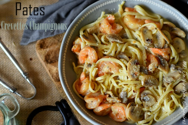 Tagliatelles aux crevettes sauce aux champignons