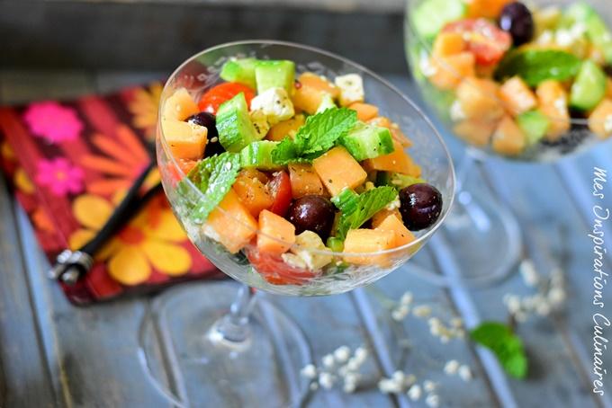 Salade de melon et feta (concombre et tomate)