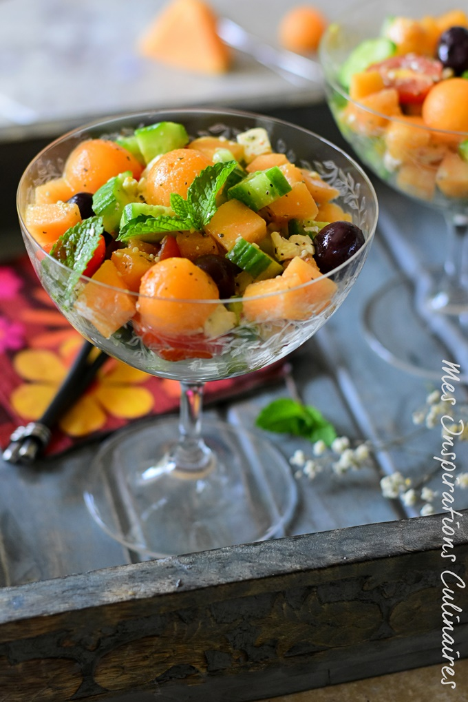 Salade de melon et feta concombre et olives Kalamata