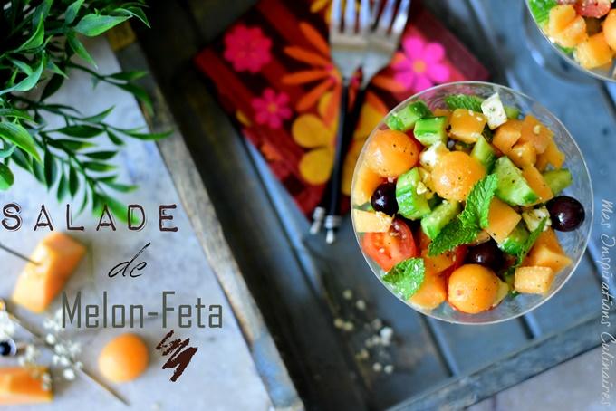 Salade de melon et feta, recette facile