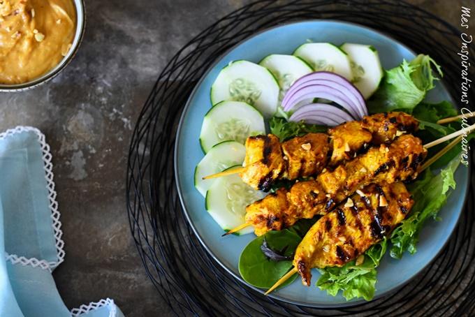 Brochettes de poulet Satay, recette de Malaisie
