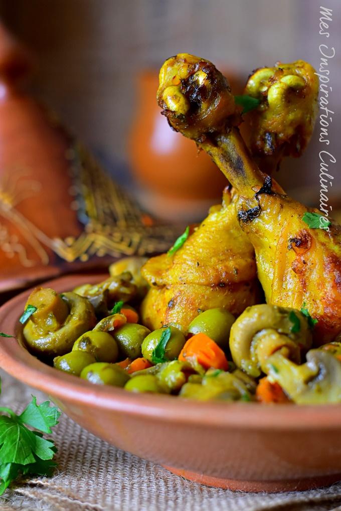 Recette de poulet aux olives, champignons et carottes