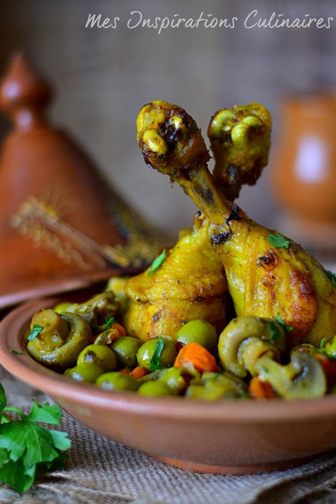 Poulet aux olives, champignons et carottes