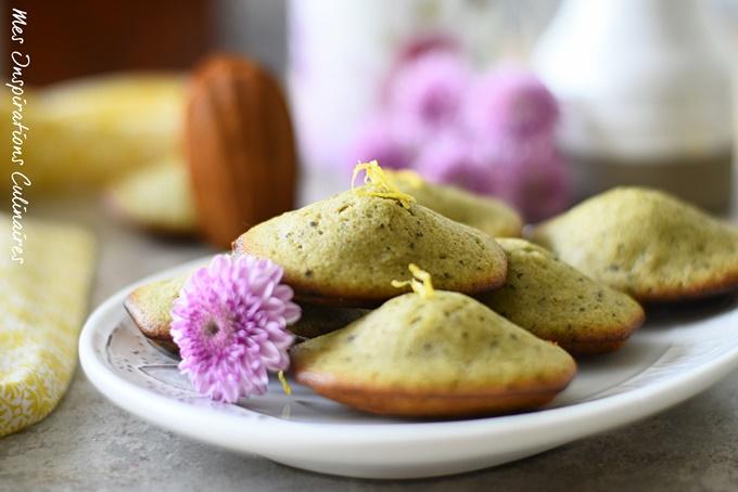 Madeleines au thé matcha et citron