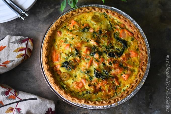 Quiche aux poireaux, saumon et épinards