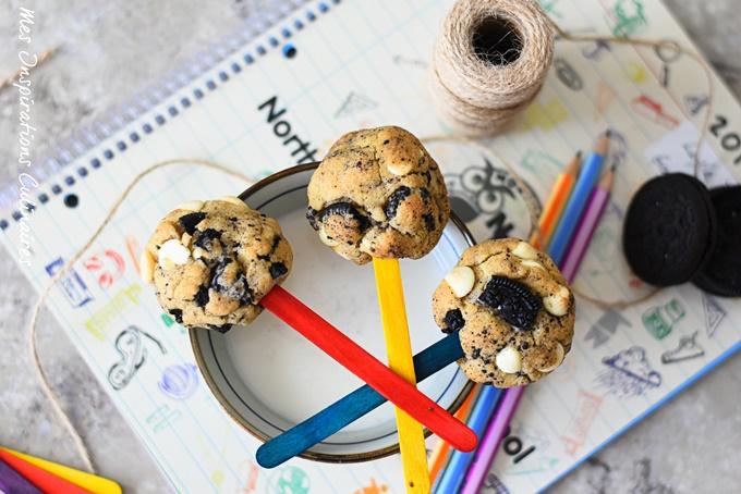 Cookies aux Oreo chocolat blanc (en sucette)