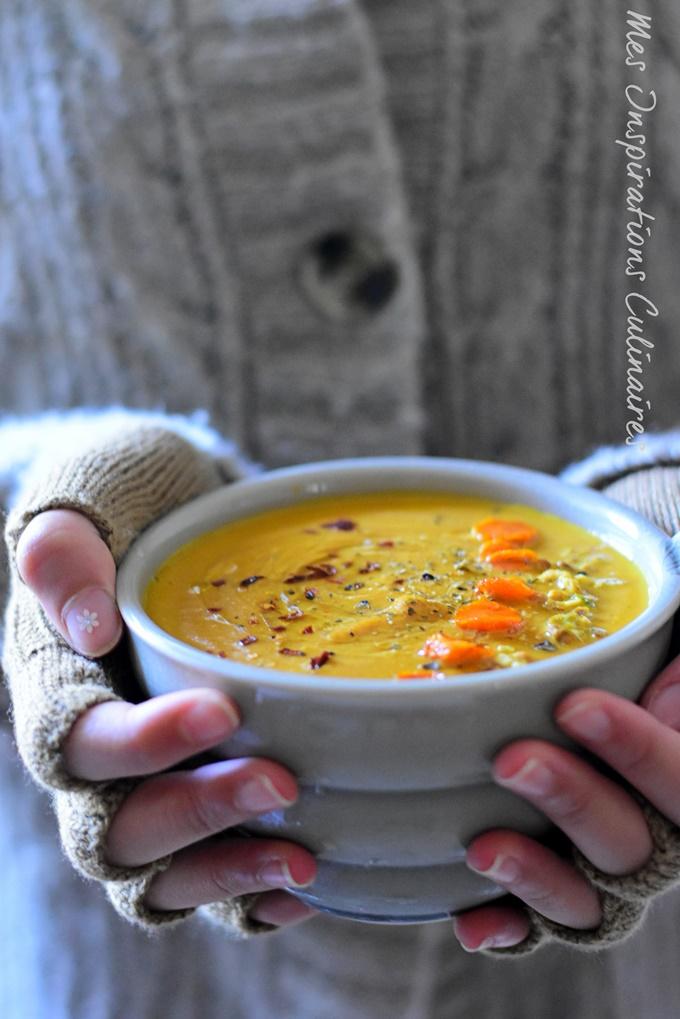 Soupe de potiron carottes rôties