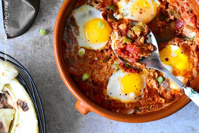 Menemen recette turque oeufs brouilles aux poivrons et tomates