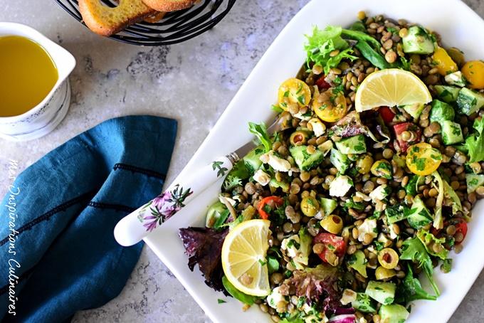 Salade de lentilles feta et concombre vinaigrette au citron