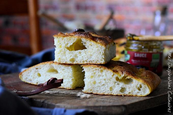 Focaccia recette italienne, sauce Chermoula