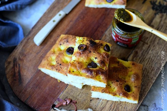 Focaccia recette italienne a la sauce chermoula