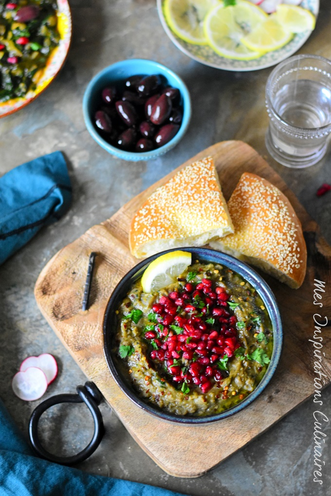 Ragoût de Lentilles, aubergines et grenade : roummaniyah