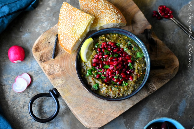 Ragoût de Lentilles, aubergines et grenade : roummaniyeh
