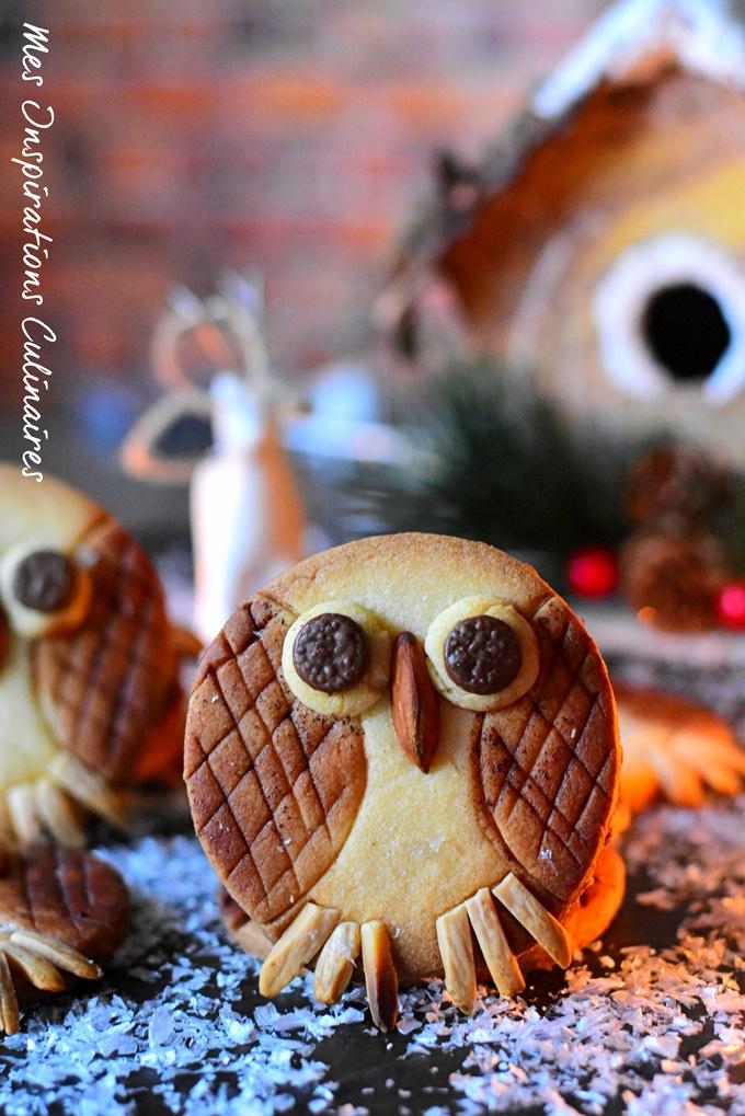 Biscuits Sablés Chouettes de Noël