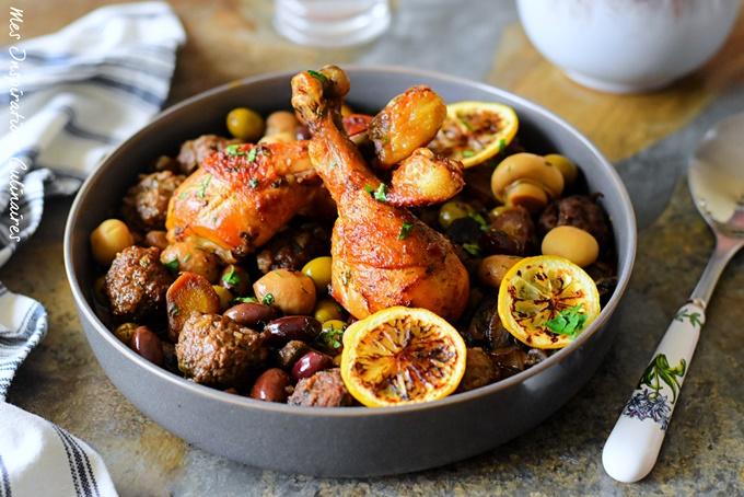 Recette Poulet aux olives, champignons et viande hachée