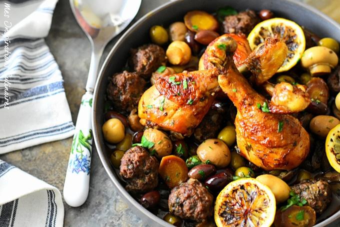 Recette Poulet aux olives et boulettes de viande hachée