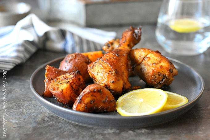 Poulet et pommes de terre au four (marinade à l'orange)