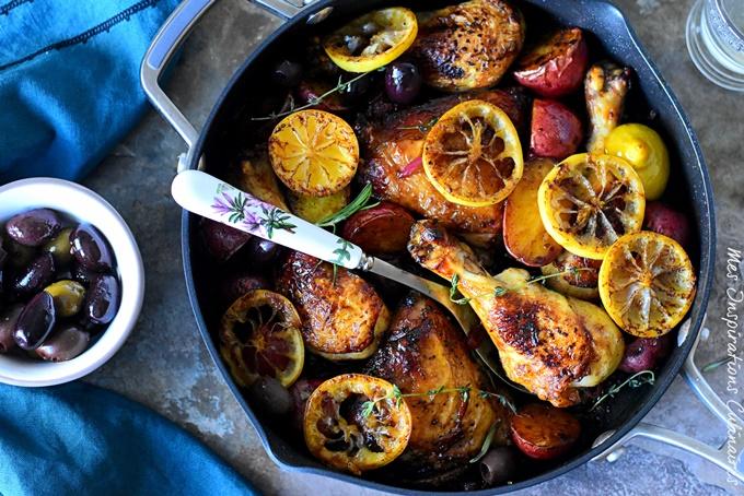 Recette poulet au citron et pommes de terre