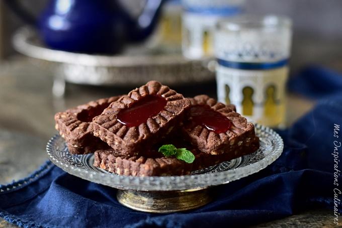 Sablés au cacao confiture et aux noix