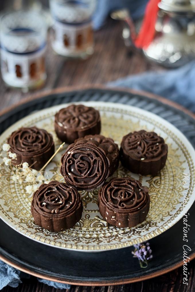 recette Sablés au cacao arabesque avec pâte à brownie
