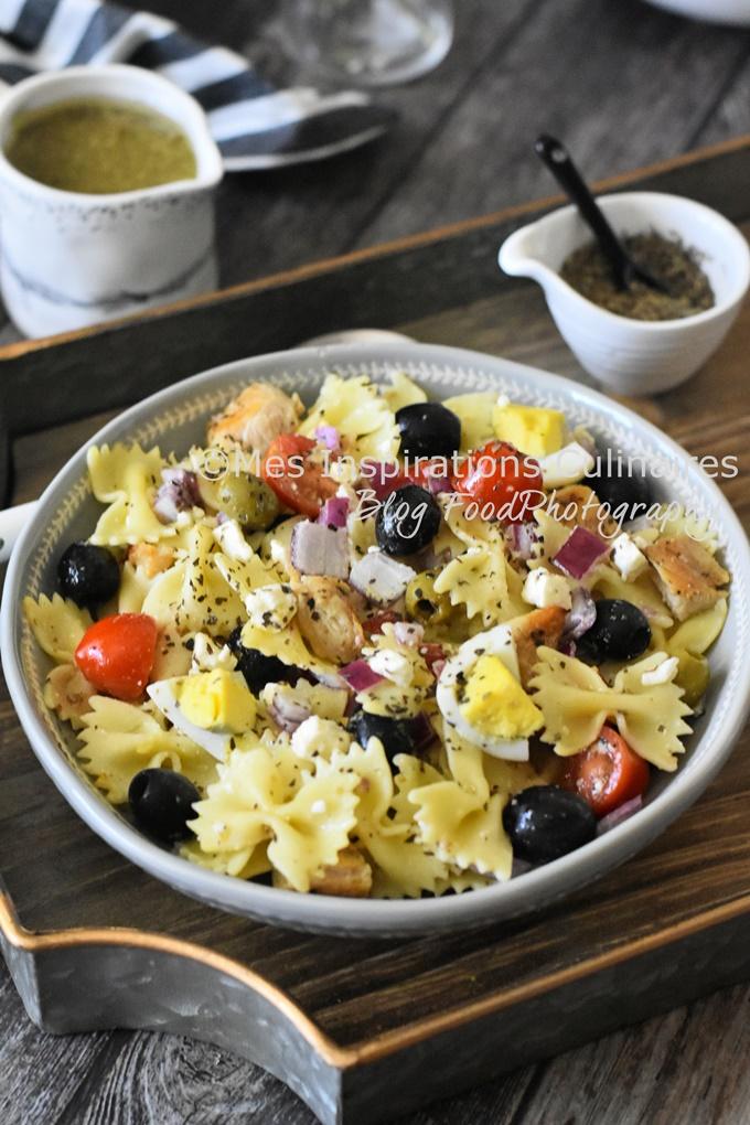 Salade de pâtes au poulet grillé, recette rapide