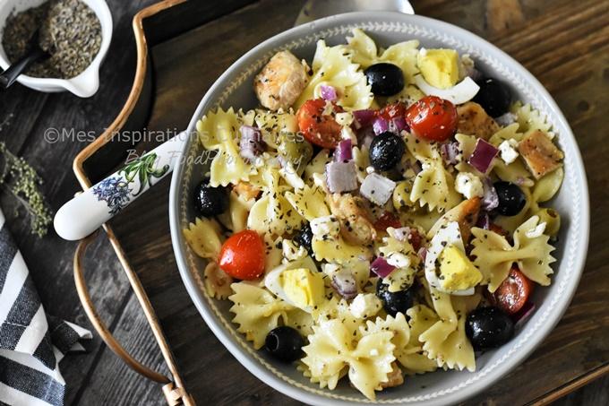 Salade de pâtes au poulet grillé, recette facile