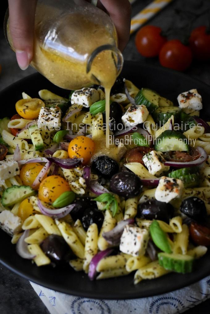 Salade de penne à la grecque feta et olive kalamata