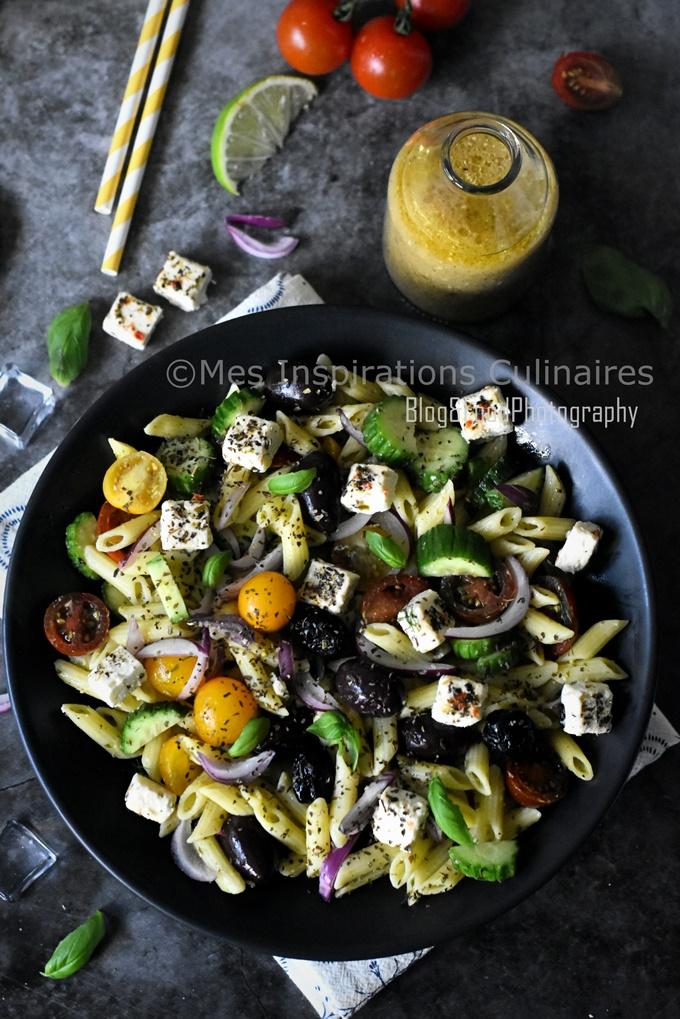 Salade de penne à la feta façon grecque facile et rapide