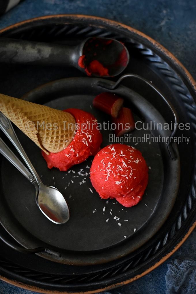 Sorbet à la rhubarbe sans sorbetière