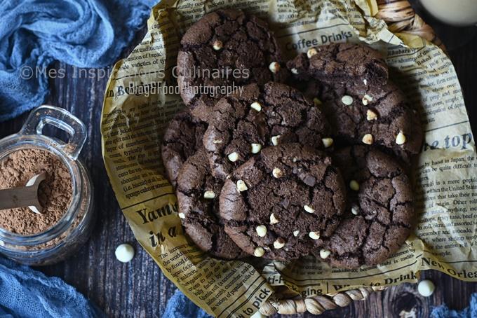 Cookies au chocolat cacao (amer) et pépites de chocolat blanc