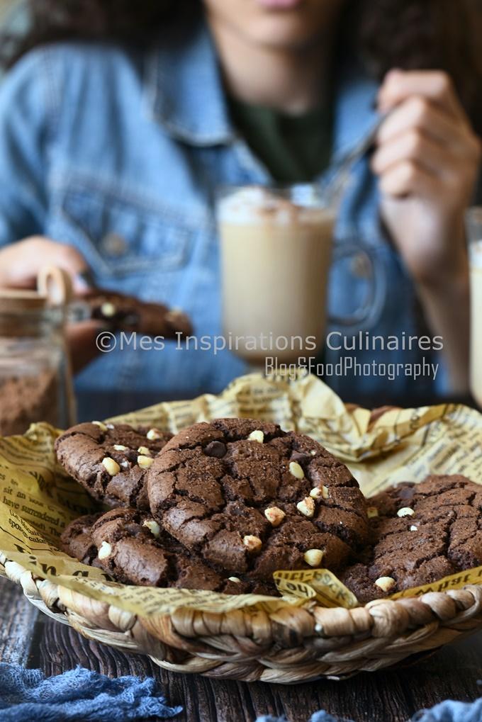 recette Cookies au chocolat moelleux et pépites de chocolat blanc