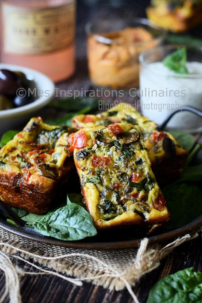 Recette Frittata aux épinards champignons et poivrons rouge