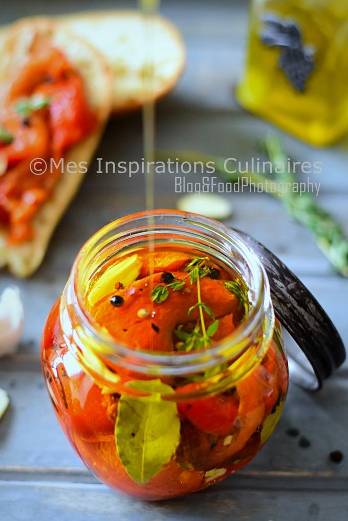 Poivrons marinés à l'huile d'olive et ail, recette facile